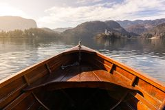 在一个流血的湖的木租小船,面对有拷贝空间著名游人的布莱德湖海岛的小船的末端 免版税库存照片