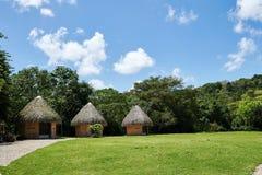在一个海岛上的热带小屋有圆锥形茅草屋顶屋顶的,被编织在可可椰子树叶状体外面 明亮的白天,与松的蓝天 库存图片