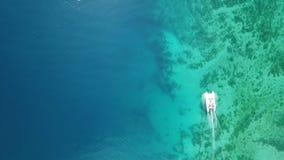 在一个海湾停住的筏空中,顶面寄生虫场面用透明绿松石水和被仿造的底部 r 股票录像