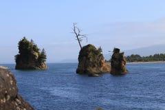 在一个海湾的三次岩石露出在太平洋 库存照片