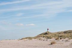 在一个海滩的灯塔在sylt海岛上 库存照片