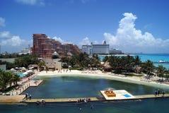 在一个海滩的热带鸟瞰图在坎昆,墨西哥 库存图片