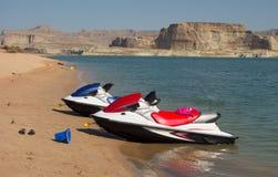 在一个海滩的船只在沙漠 图库摄影