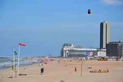在一个海滩的Kiting在Oostende,比利时 免版税库存照片