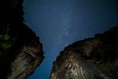 在一个深峡谷的夜 免版税图库摄影