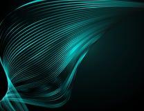 在一个深蓝背景未来派技术例证设计的摘要明亮的波浪线波浪线的样式 库存例证