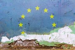 在一个混凝土墙上绘的欧盟旗子 欧洲标志联盟 被构造的抽象背景 库存图片