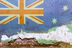 在一个混凝土墙上绘的澳大利亚旗子 澳洲标志 被构造的抽象背景 库存图片