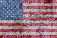 在一个混凝土墙上绘的美国国旗 免版税库存照片