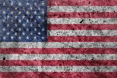在一个混凝土墙上绘的美国国旗 图库摄影