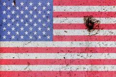 在一个混凝土墙上绘的美国国旗 库存图片