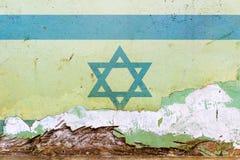 在一个混凝土墙上绘的以色列旗子 标记以色列 被构造的抽象背景 免版税库存照片
