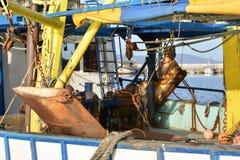 在一个渔船的甲板的设备 免版税库存照片