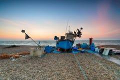 在一个渔船的美好的日出 图库摄影