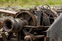在一个渔船的老生锈的机械 库存图片