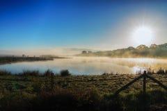 在一个湖的有雾的日出在荷兰 免版税库存图片