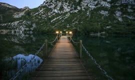 在一个湖的木桥夜 库存照片
