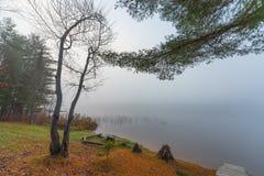 在一个湖的清早雾在渥太华,安大略附近 免版税库存照片