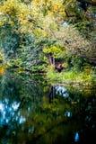 在一个湖的秋天风景在中央俄罗斯 免版税库存图片