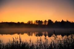 在一个湖的美好的日出与一个上升的薄雾美好的早晨在沼泽地在拉脱维亚 库存照片