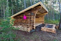 在一个湖附近的一个新的防风林在瑞典 免版税图库摄影