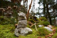 在一个湿木树桩安排的石灰石石标 免版税库存图片