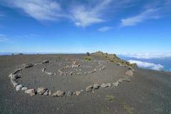 在一个火山的高原的石圈子在耶罗岛 库存图片