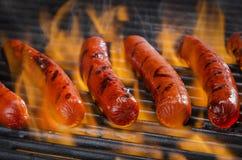 在一个火焰状热的烤肉格栅的热狗 免版税库存图片