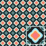 在一个灰色背景例证的抽象无缝的蓝色圈子样式 免版税库存图片