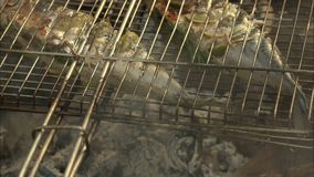 在一个烤的平底锅的热的鱼 股票录像