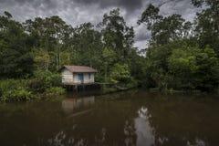在一个热带密林中间的偏僻和哀伤的小屋在印度尼西亚 库存图片