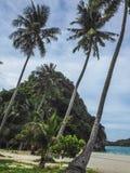 在一个热带海岛上的海滩 免版税库存照片