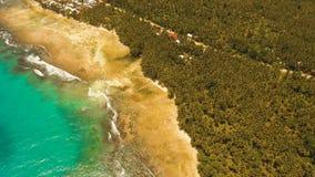 在一个热带海岛上的鸟瞰图美丽的海滩 菲律宾, Siargao 图库摄影