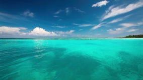 在一个热带海岛上的Turquise盐水湖有波浪的 股票视频