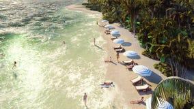 在一个热带海岛的棕榈树有与沐浴人的一个异乎寻常的白色海滩的在与天空蔚蓝的一好日子 股票录像