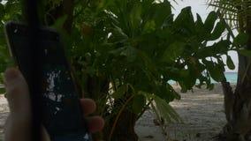 在一个热带海滩的一个海假期时使用您的手机,当坐在吊床在马尔代夫时 影视素材
