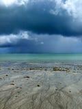 在一个热带海滩的风暴在巴西 免版税库存图片