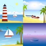 在一个热带海滩的一条小船 免版税图库摄影
