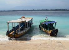 在一个热带海滩的传统小船 图库摄影