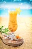 在一个热带海滩的可口水果鸡尾酒 免版税图库摄影
