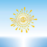 在一个热带海滩的夏天晴天 库存例证