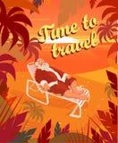 在一个热带海滩的日落,夏天,圣诞老人,假日,时刻旅行 也corel凹道例证向量 库存照片