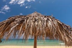 在一个热带海滩的秸杆伞 免版税库存照片