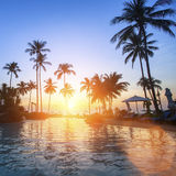 在一个热带海滩的美好的日落 旅行 免版税库存图片