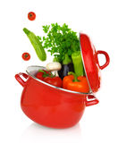 在一个烹调罐的五颜六色的菜 图库摄影