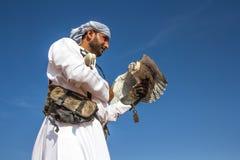 在一个猎鹰训练术飞行展示期间的公saker猎鹰在迪拜,阿拉伯联合酋长国 免版税库存照片