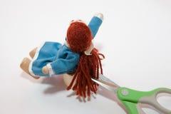 在一个玩偶的场面的特写镜头在理发前的 免版税库存图片