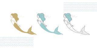 在一个现代样式的美人鱼 免版税库存照片