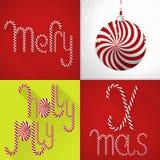 在一个现代五颜六色的瓦片设计的圣诞卡与手工制造甜Lolli字体和圣诞节球 免版税库存图片