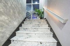 在一个现代典雅的大厦的台阶 库存照片